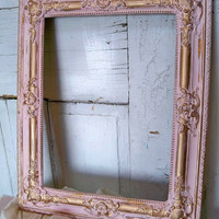 Large ornate gesso frame hand painted pink and gold distressed shabby chic wall home decor Anita Spero