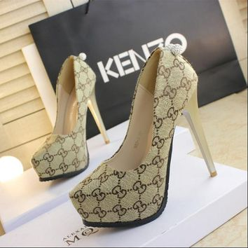 Fashion Online Gucci Autumn New High-heeled Shoes 13cm Black Work Shoes Waterproof Platform Sexy Cloth Beige High Heels Apricot