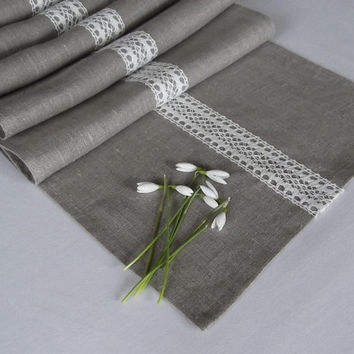 Linen Table Runner with Lace - Gray Table Runner - Organic Linen Runner - Lace Table Runner