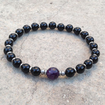 soothing and patience, genuine onyx and amethyst mala bracelet