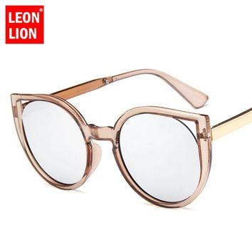 LeonLion 2018 Cat eye Sunglasses Women Vintage Metal Reflective Glasses For Women Brand Designer Mirror Oculos De Sol Gafas