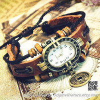 Retro Fashion Girl Jewelry Wrist Bangle Bracelet Women Girls Leather Watch (GA0029)