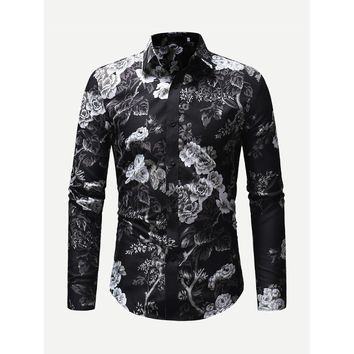 Men Allover Floral Print Shirt