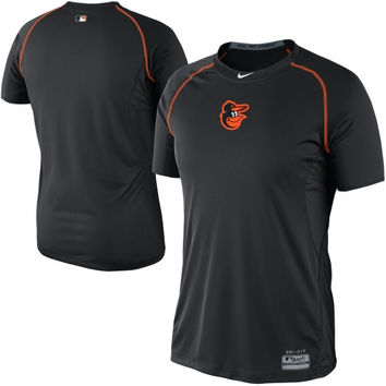 Nike Baltimore Orioles Pro Combat Core Raglan Performance T-Shirt - Black
