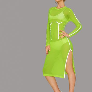 Neon Lime Split Thigh Contrast Tape Mesh Dress