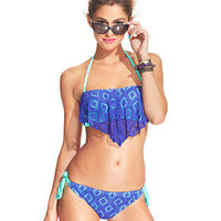 Hula Honey Crochet Bandeau Bikini Top & Side-Tie Bikini Bottom
