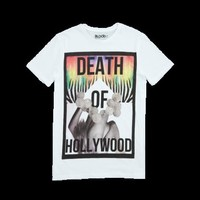 Mens Death Of Hollywood White Graphic Crew Neck T-Shirt by Blood Brother