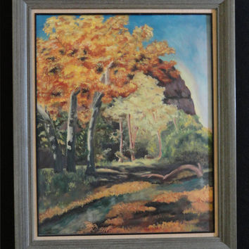 Vintage Oil Painting Landscaping Signed with initials NJM 1964