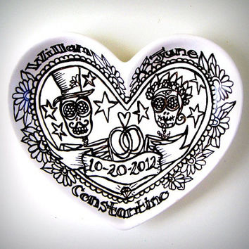 Heart Dish Painted Ceramic Sugar Skull Wedding Gift Bride Groom Day of the Dead Personalize Names Dates Black and White Customize