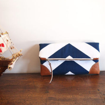 Navy/Nautical Fold over Clutch purse/ blue-white chevron/ leather details/ zipper clutch/cruise