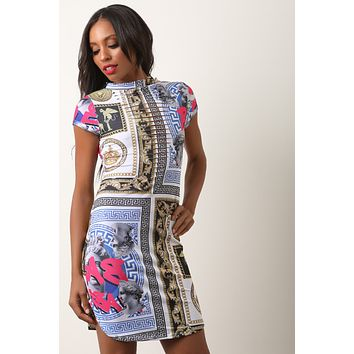 Greek Filigree Print Front Slit Round Hem Dress