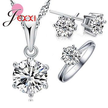 JEXXI Woman's Birthday Gift Wedding Jewelry Set Fashion 925 Sterling Silver Crystal Necklace Ring Earring 3 pcs/set