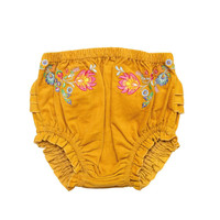 Mustard Floral Corduroy Baby Bloomers