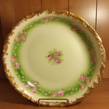 Vintage T & V France Limoges Depose Large Bowl with Pink Roses in Green  Band with Scalloped Gold Trim