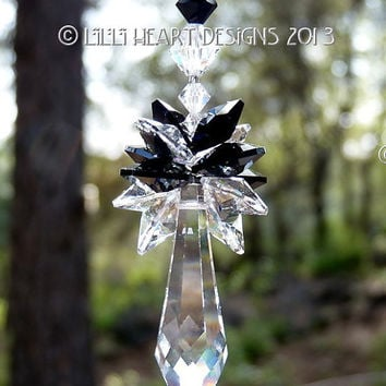 m/w Swarovski Crystal Jet Black with Clear 50mm Long Icicle Pendulum Suncatcher by Lilli Heart Designs