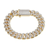 Sterling Silver Designer Miami Cuban Iced Out Bracelet 14k Gold Finish New Iced Out Unique Lock