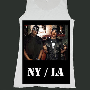 NY LA notorious big tupac biggie smalls singlet screen print tank top ety184v