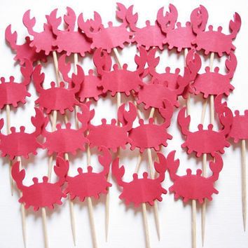 24 Decorative Red Crab Party Picks Toothpicks Food by BelowBlink