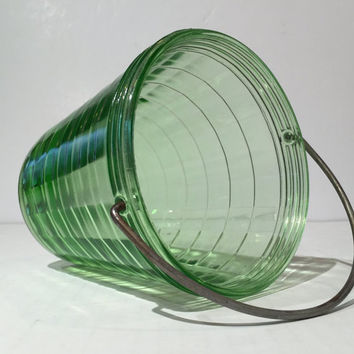 Green Depression Glass Block Optic Ice Bucket with Handle