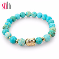 Hot Sale Silver Buddha White bracelet Pulseras mujer Fine Jewelry 2016 New Natural Stone bead Buddha Bracelets For Women and Men