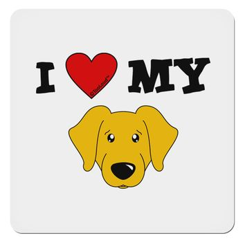 "I Heart My - Cute Yellow Labrador Retriever Dog 4x4"" Square Sticker by TooLoud"