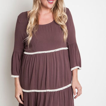 Plus Size Bell Sleeve Peasant Dress - Chocolate
