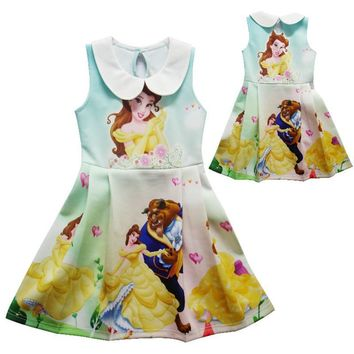 2017 New Summer Dress Beauty and Best Cartoon Turndown collar Girls Dresses For Party Birthday Dress Children Costume ZX14