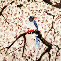 Franklin Mint Flowers and Birds of the Orient Chinese Blue Pie and Cherry 1979 Hand Painted Decorator Plate,