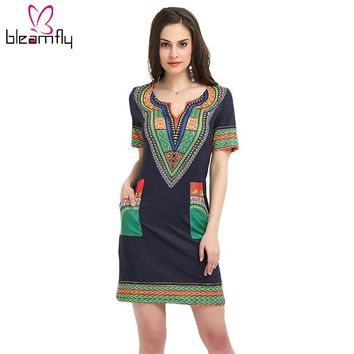 Summer Sexy Print Shirt Dresses Vintage Mini hippie Women Casual Clothing