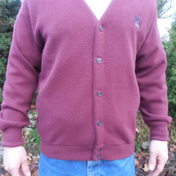 Vintage Izod Cardigan - Comfortable Cool Functional Men's Fashion, Burgundy Color with Preppy Ivy League Crest, Men's Size Medium