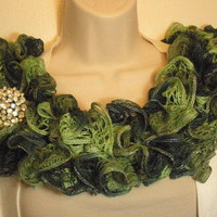 Ruffled Lacy Scarf Knit Light Green Dark Green