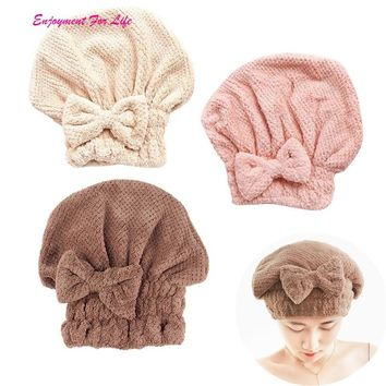 Home Textile Microfiber Hair Turban Quickly Dry Hair Hat Women's Girls Lady's Wrapped Drying Towel Bathing Cap 3RC12#F#