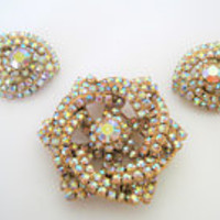 Aurora Borealis Brooch Earrings, Rhinestone Encrusted, Set in Gold Tone - Stunning Set