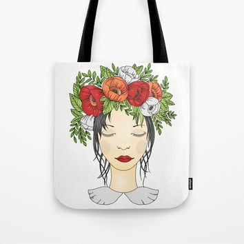 Flowers Queen - Poppies Tote Bag by MIKART