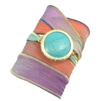 Hand Dyed Silk Ribbon Bracelet with Turquoise by charmeddesign1012