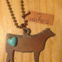 Rustic Rusty Rusted Recycled Metal Heifer Cow FFA Heart Heifers Necklace