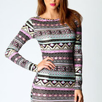 Victoria Multi Coloured Geo Foiled Bodycon Dress
