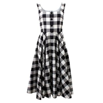 Dolce & Gabbana Cotton Gingham Dress - Black & White Plaid Dress - ShopBAZAAR
