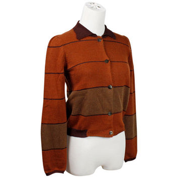 vintage designer cashmere cardigan sweater / Marina Sinibaldi Benatti / burnt orange / striped / cropped sweater / Barneys NY / size XS