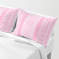 Ukrainian embroidery heavenly pink Pillow Sham by exobiology