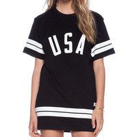 USA Striped Print Short Sleeve Mini Shift Dress