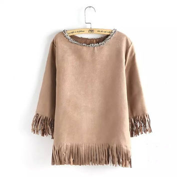 Solid Punk Faux Suede Leather Tassel Loose Blouse