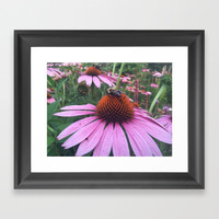 Flower and the Bee Framed Art Print by Express Yourself Studios, LLC