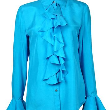 Lauren Ralph Lauren Women's Ruffled Silk Button-Down Shirt