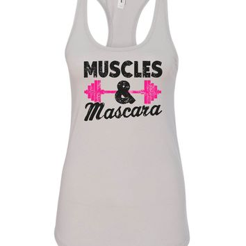 Womens Muscles And Mascara Grapahic Design Fitted Tank Top