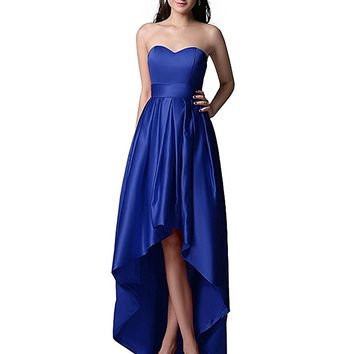 Women's Sweetheart Satin High Low Skirt Party Dress For Senior Homecoming