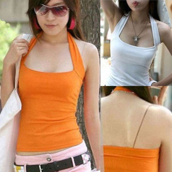 Sexy Women's Halter Neck Low Cut Tight Vest Shirt Tank Tee Cami Backless Top = 5658707201