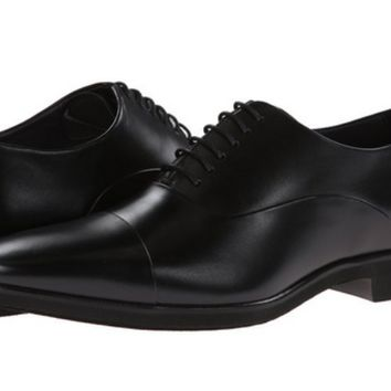 Mezlan Men's Black Calfskin Leather Captoe Oxfords