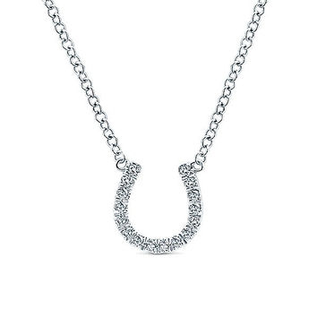 14K White Gold Pave Diamond Horseshoe Necklace