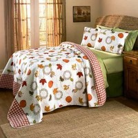 3 Pc Harvest Quilt Set Bedding Fall Pumpkins 2 Shams 1 Comforter Home Decor